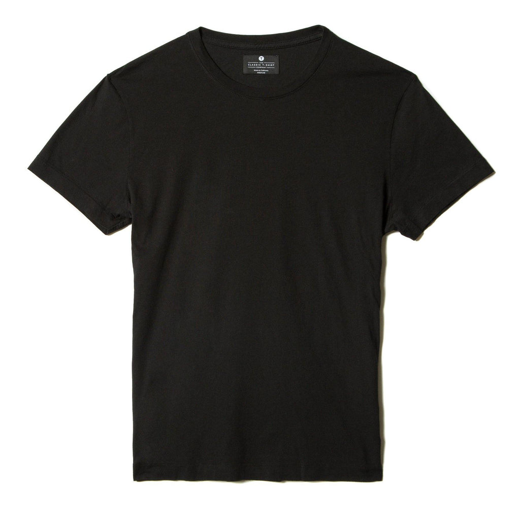 black organic cotton t-shirt - flat view