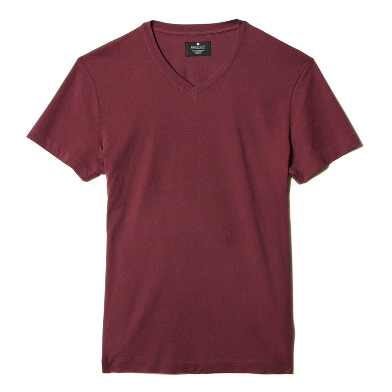 burgundy organic cotton V-Neck t-shirt - flat view