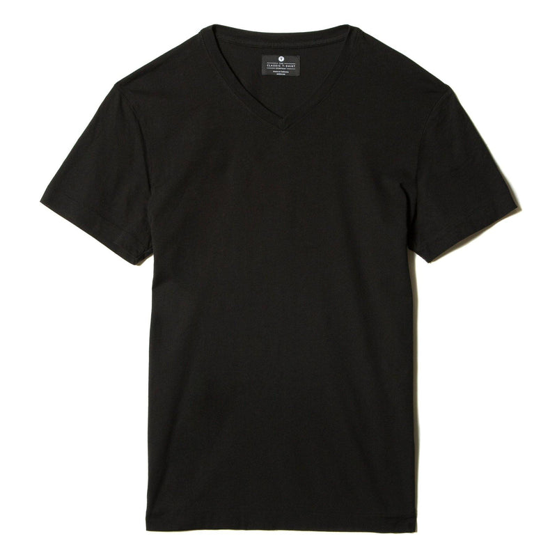 black organic cotton V-Neck t-shirt - flat view
