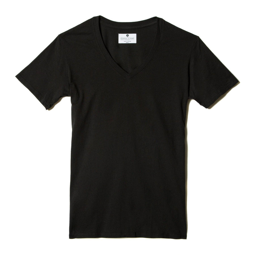 black organic cotton V-Neck t-shirt - flat