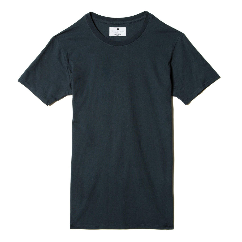 navy-blue organic cotton t-shirt - flat