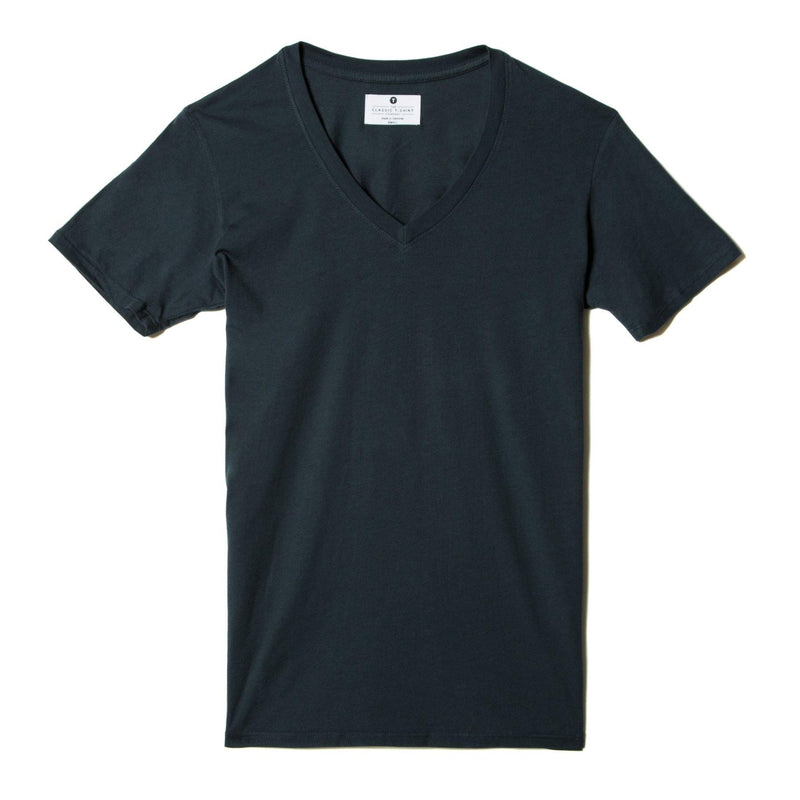 navy-blue organic cotton V-Neck t-shirt - flat view