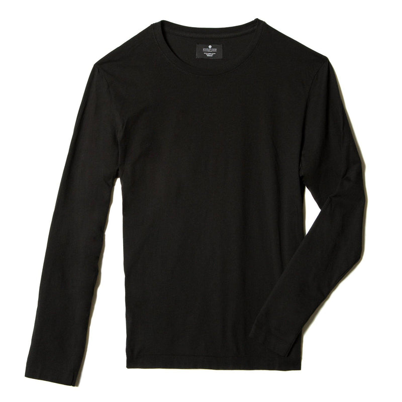 black organic men's long sleeve cotton t-shirt - flat