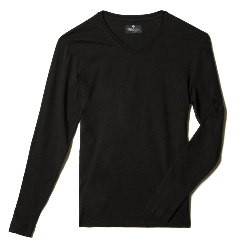 black organic cotton Long sleeve V-Neck t-shirt - flat