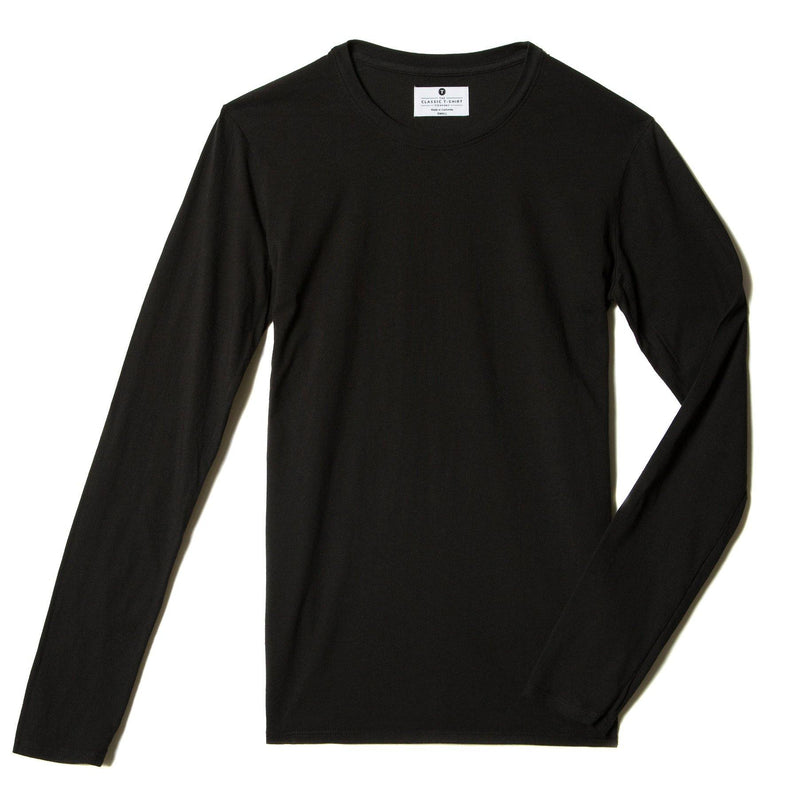 black organic cotton Long Sleeve crewneck t-shirt - flat