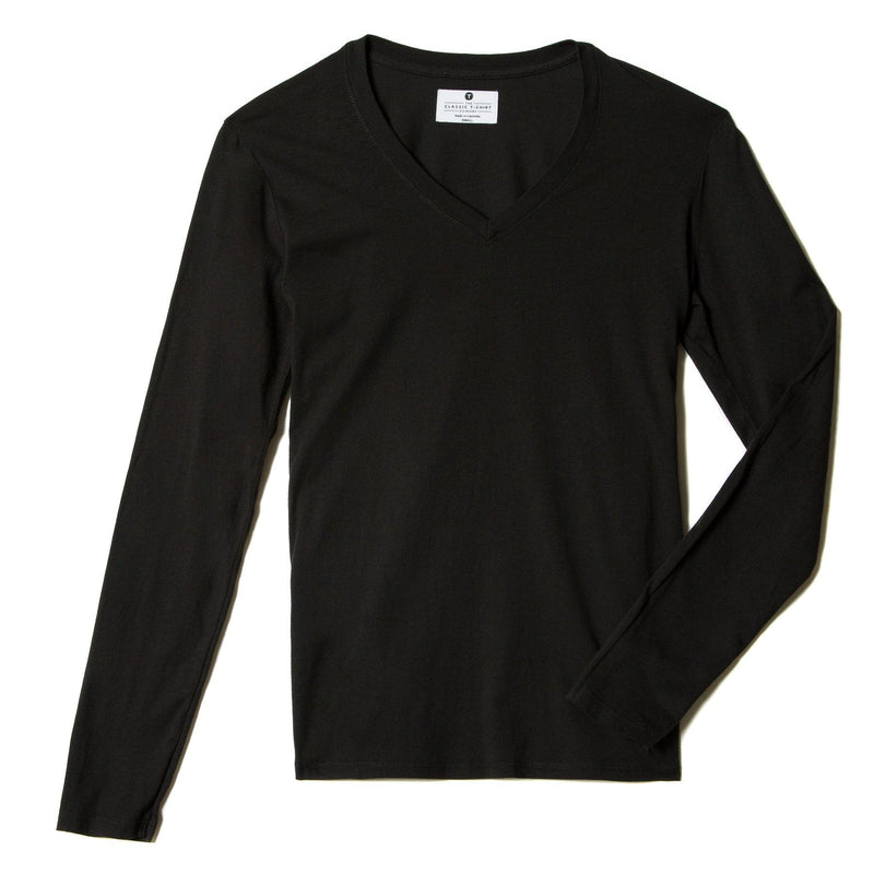 black organic cotton Long Sleeve V-Neck t-shirt - flats view