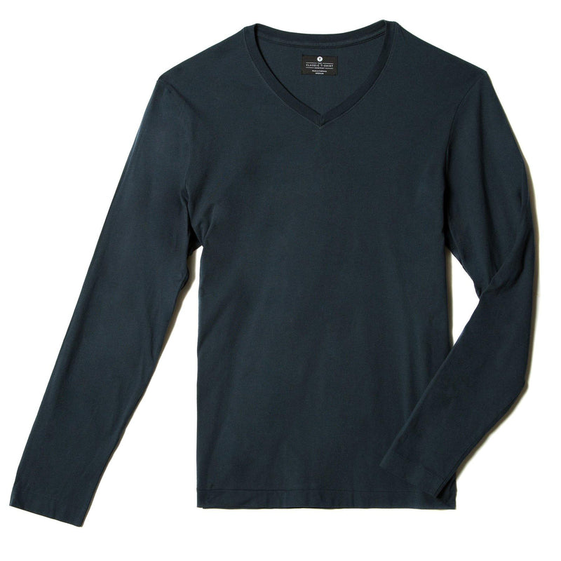 navy-blue organic cotton Long sleeve V-Neck t-shirt - flat