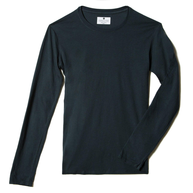 navy-blue organic cotton Long Sleeve crewneck t-shirt - flat