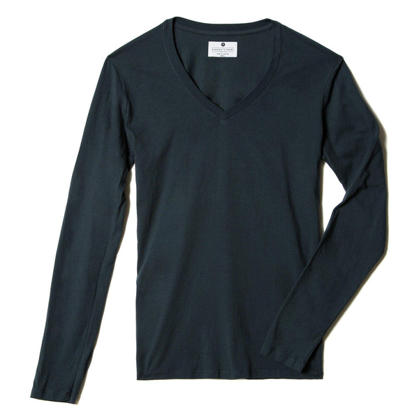 navy-blue organic cotton Long Sleeve V-Neck t-shirt - flats view