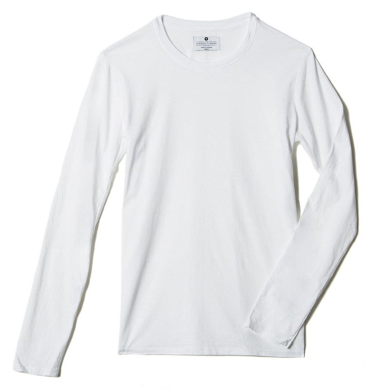 white organic cotton Long Sleeve crewneck t-shirt - flat