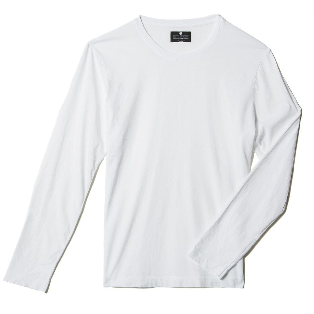 white organic long sleeve cotton t-shirt - flat