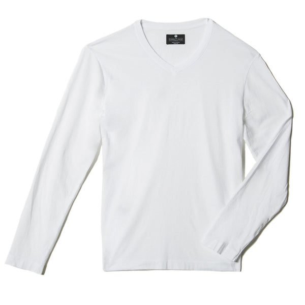 white organic cotton Long sleeve V-Neck t-shirt - flat