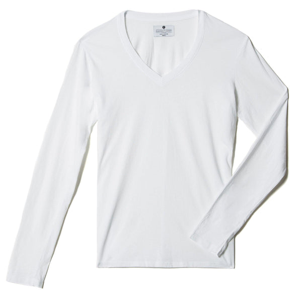 white organic cotton Long Sleeve V-Neck t-shirt - flats view