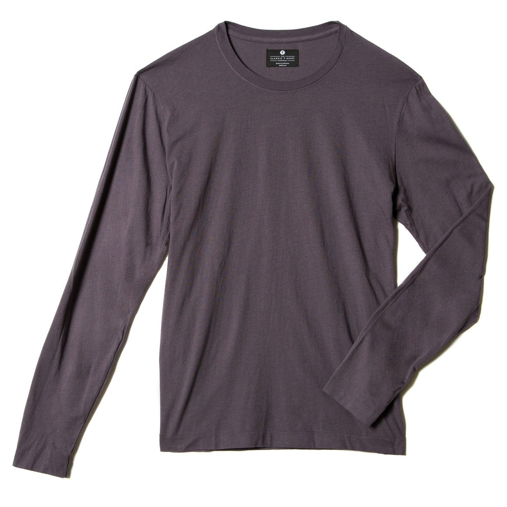 faded-purple organic long sleeve cotton t-shirt - flat