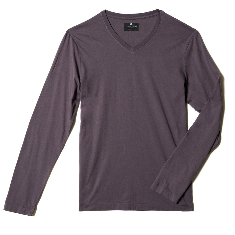 faded-purple organic cotton Long sleeve V-Neck t-shirt - flat