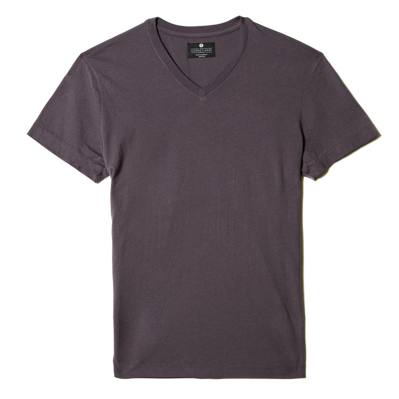 faded-purple organic cotton V-Neck t-shirt - flat view