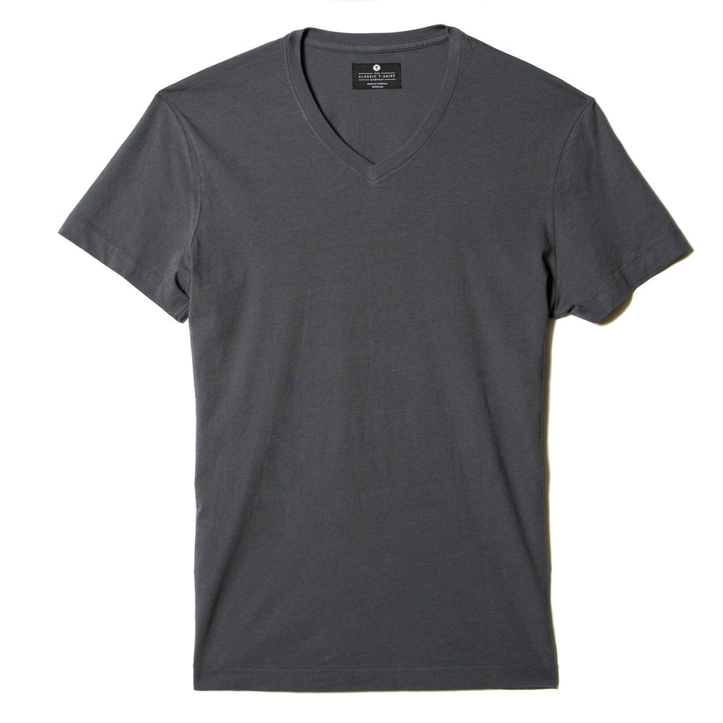 dark-grey organic cotton V-Neck t-shirt - flat view