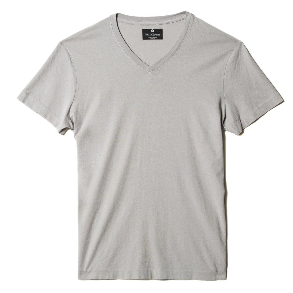 light-grey organic cotton V-Neck t-shirt - flat view