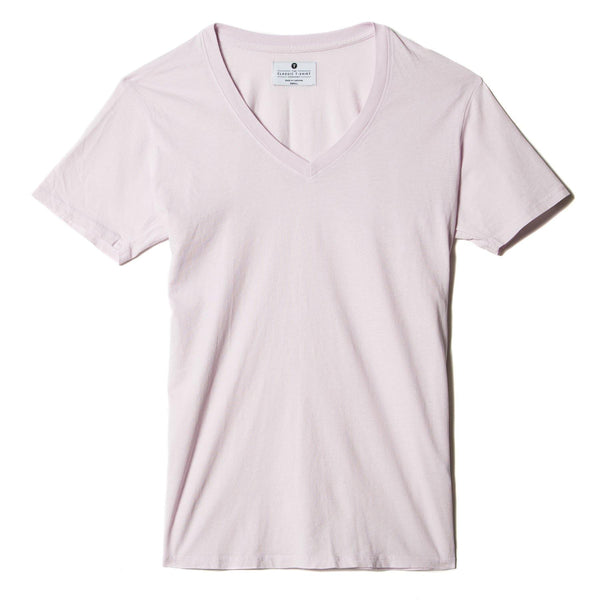 light-pink organic cotton V-Neck t-shirt - flat view