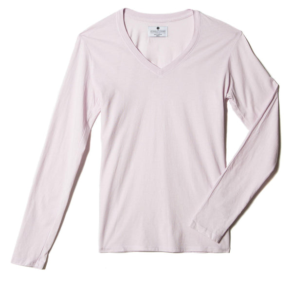 light-pink organic cotton Long Sleeve V-Neck t-shirt - flats view