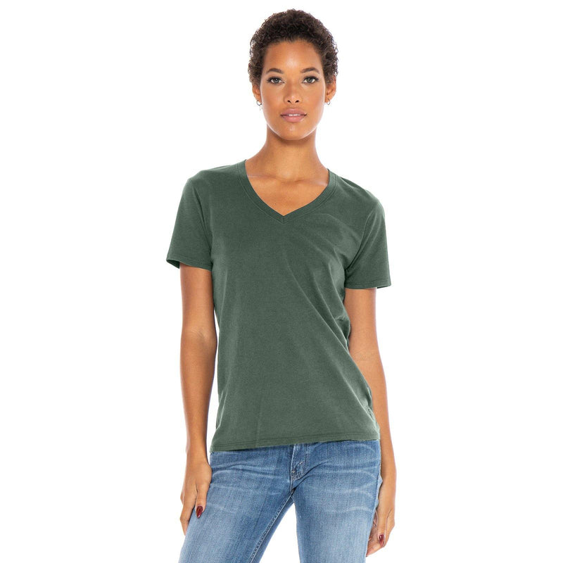 green organic cotton V-Neck t-shirt - front view