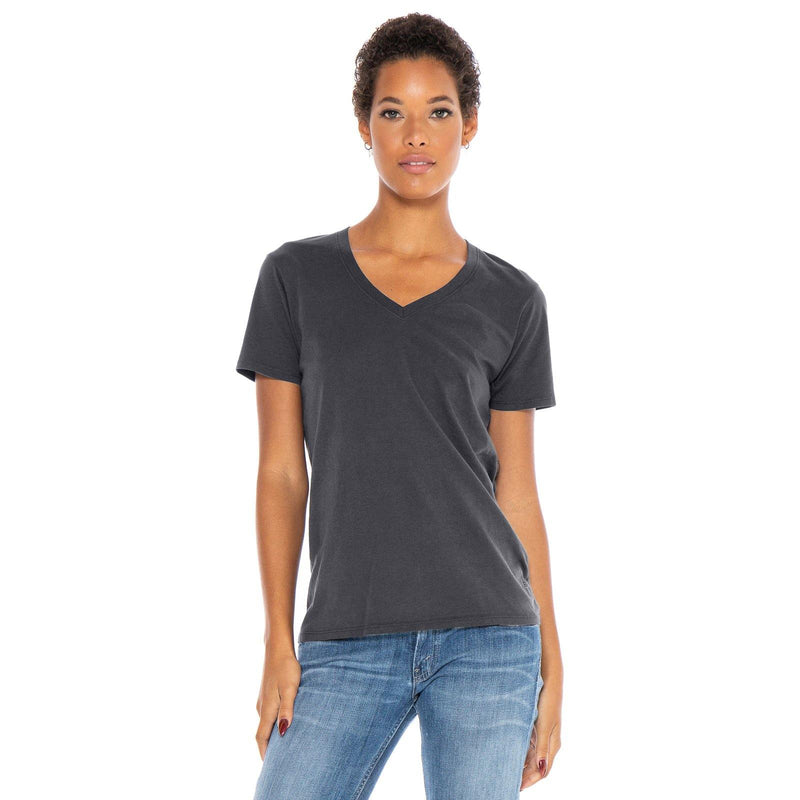 dark-grey organic cotton V-Neck t-shirt - front view