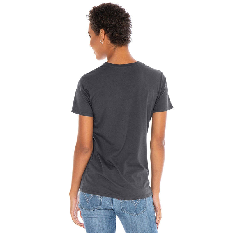 dark-grey organic cotton V-Neck t-shirt - back view