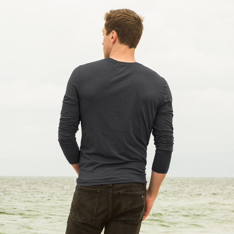 dark-grey organic cotton Long sleeve V-Neck t-shirt - back