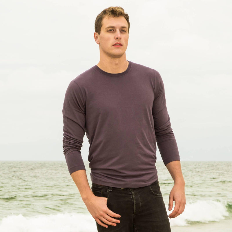 faded-purple organic long sleeve cotton t-shirt - front