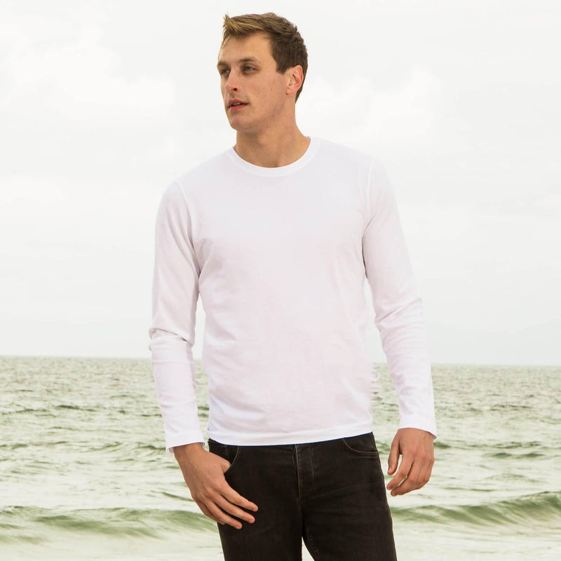 white organic long sleeve cotton t-shirt - front