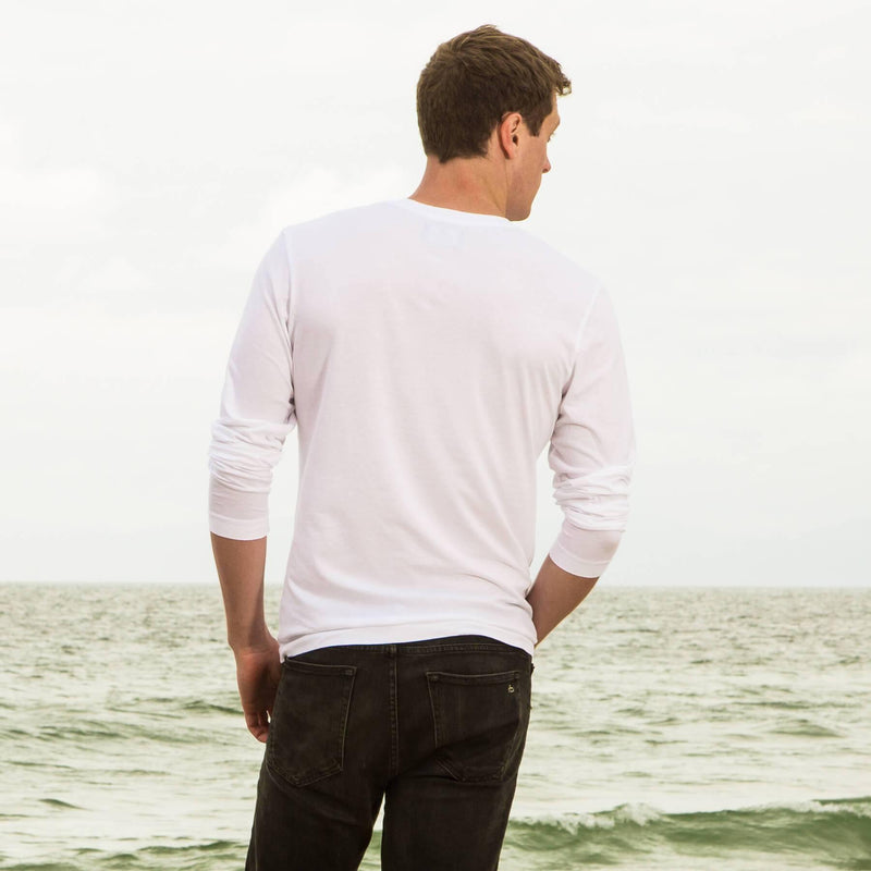 white organic cotton Long sleeve V-Neck t-shirt - back