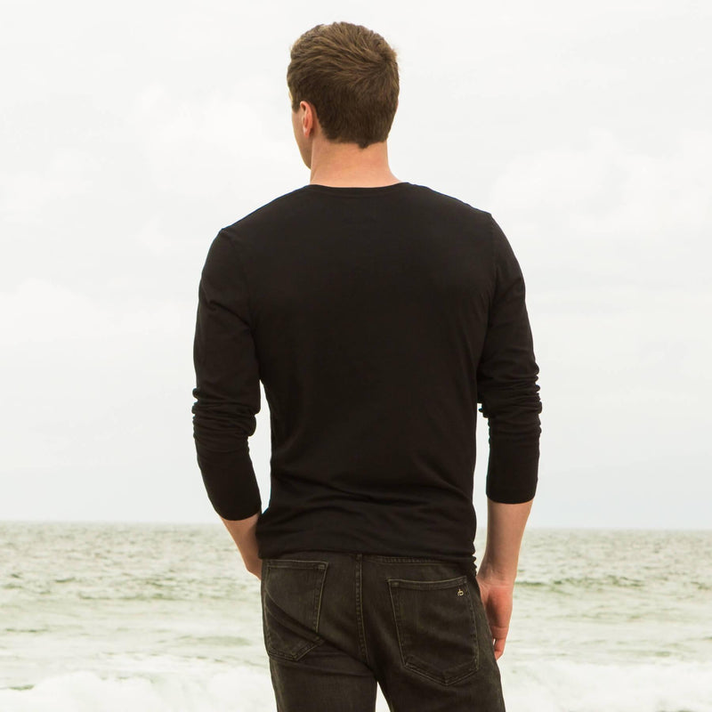 black organic cotton Long sleeve V-Neck t-shirt - back