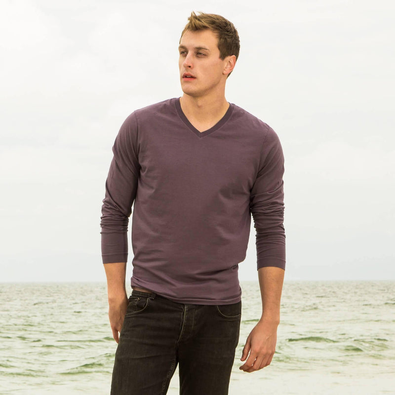 faded-purple organic cotton Long sleeve V-Neck t-shirt - front
