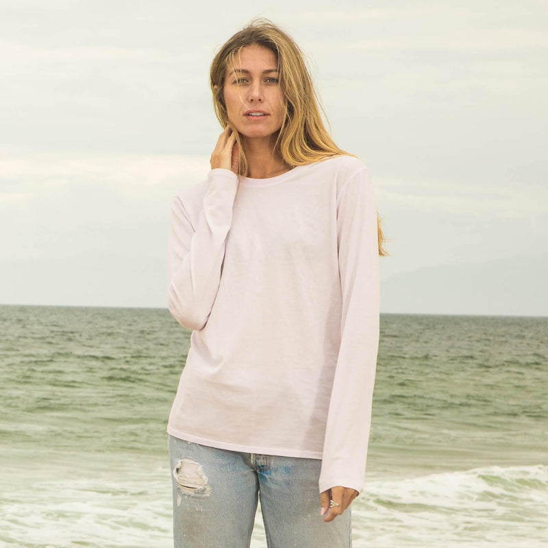 light-pink organic cotton Long Sleeve crewneck t-shirt - front