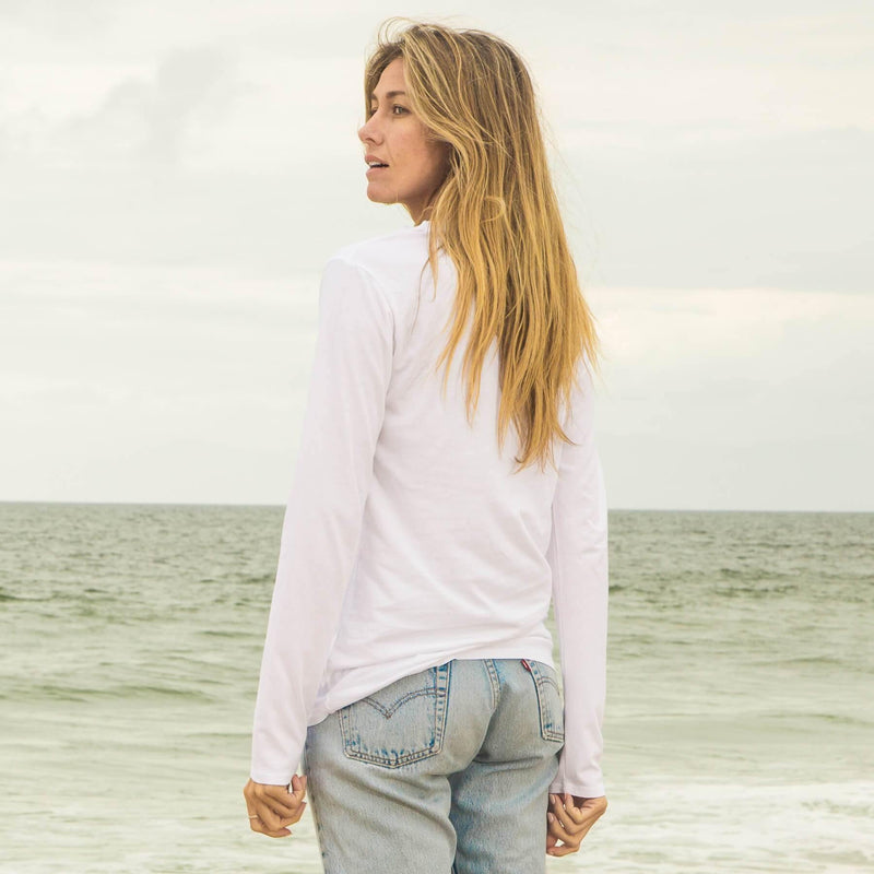 white organic cotton Long Sleeve crewneck t-shirt - back