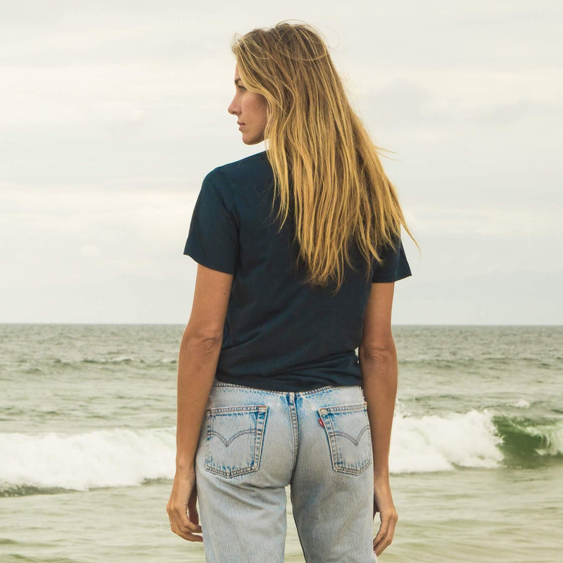 navy-blue organic cotton t-shirt - back