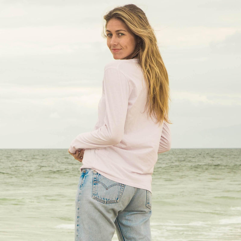 light-pink organic cotton Long Sleeve V-Neck t-shirt - back view