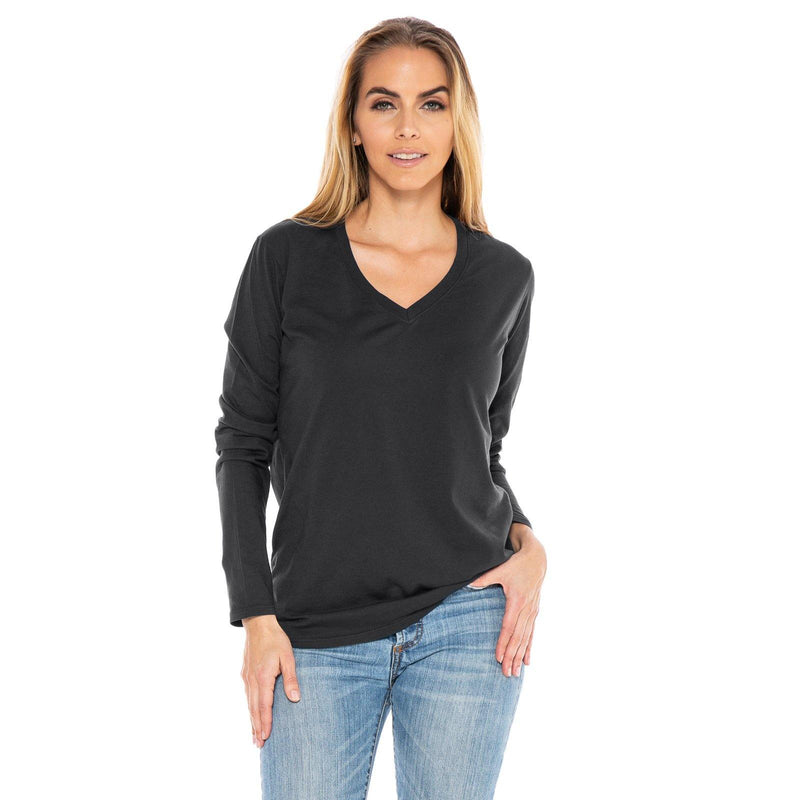 dark-grey organic cotton Long Sleeve V-Neck t-shirt - front