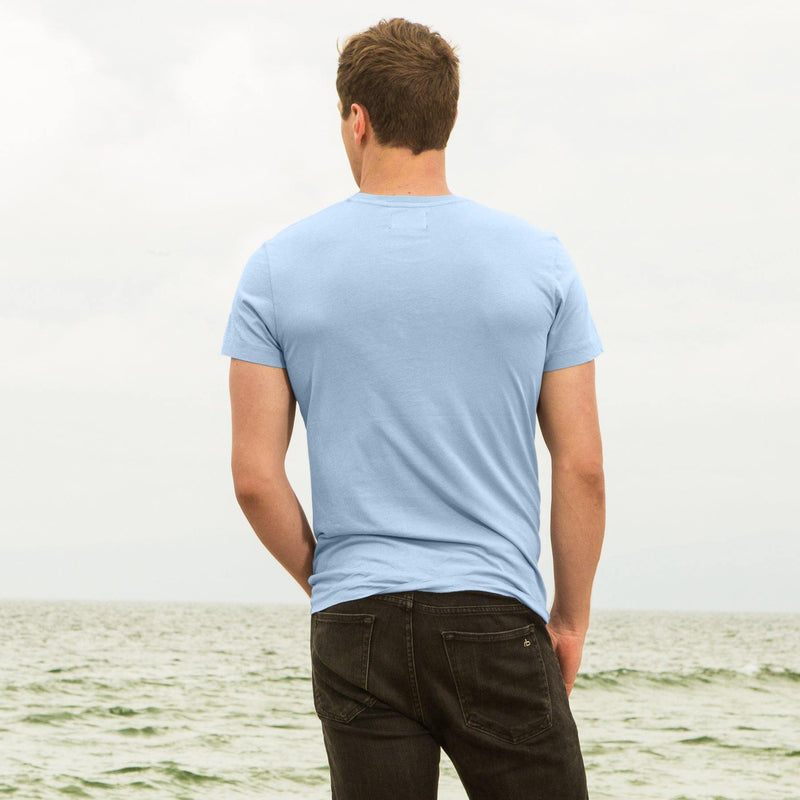 sky-blue organic cotton t-shirt - back view