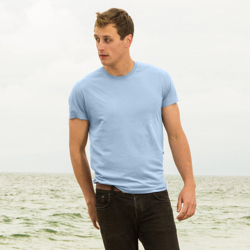 sky-blue organic cotton t-shirt - front view new-color