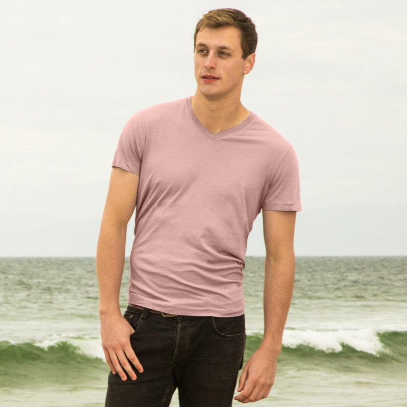 blush organic cotton V-Neck t-shirt - front view new-color