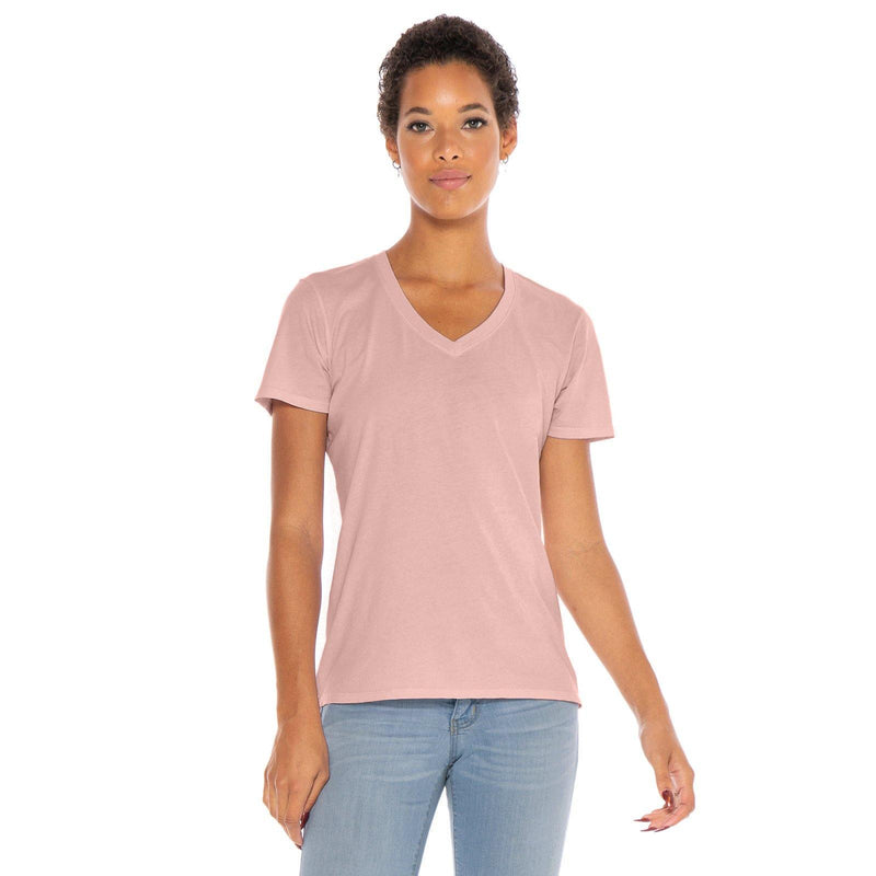 blush organic cotton V-Neck t-shirt - front view