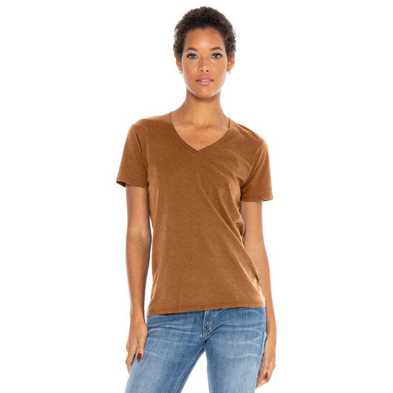copper organic cotton V-Neck t-shirt - front view new-color
