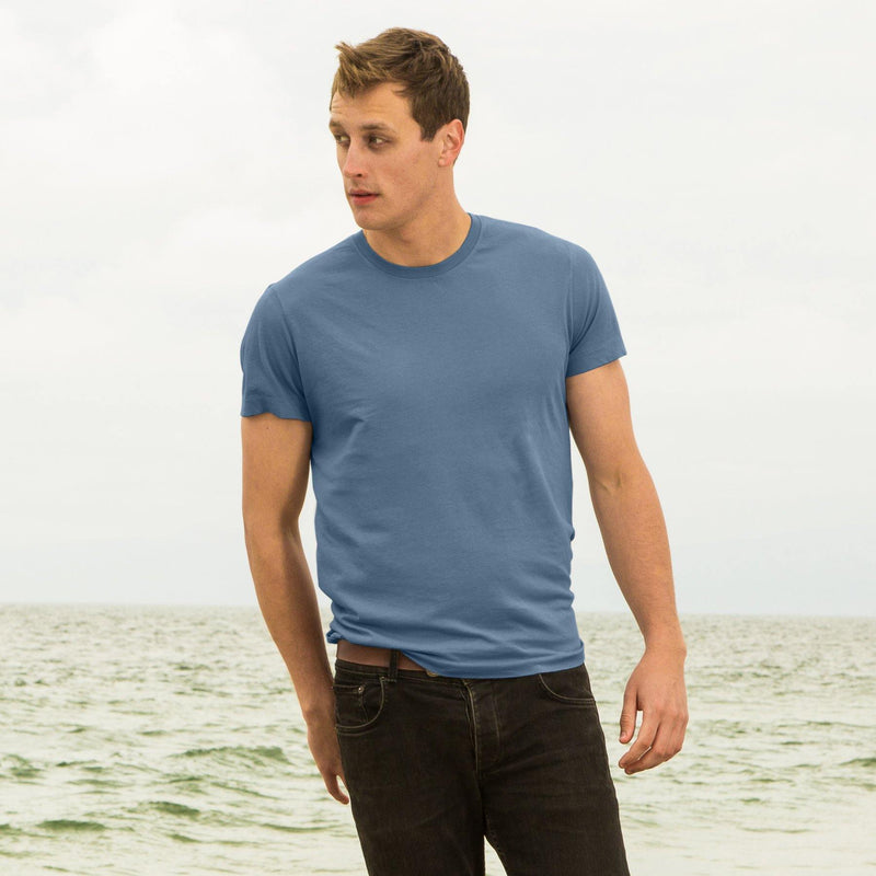 dusk-blue organic cotton t-shirt - front view