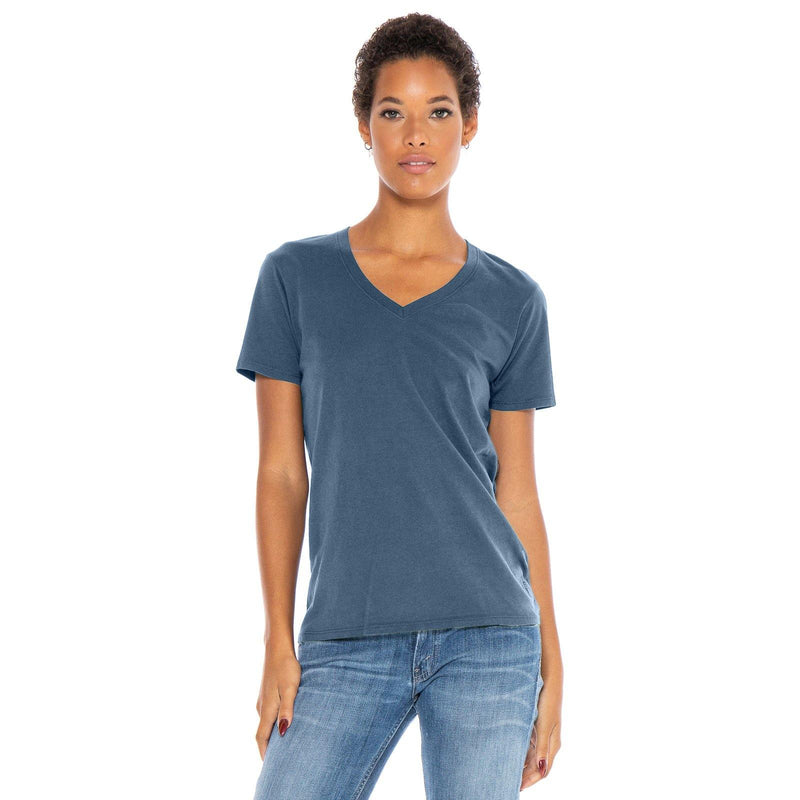 dusk-blue organic cotton V-Neck t-shirt - front view