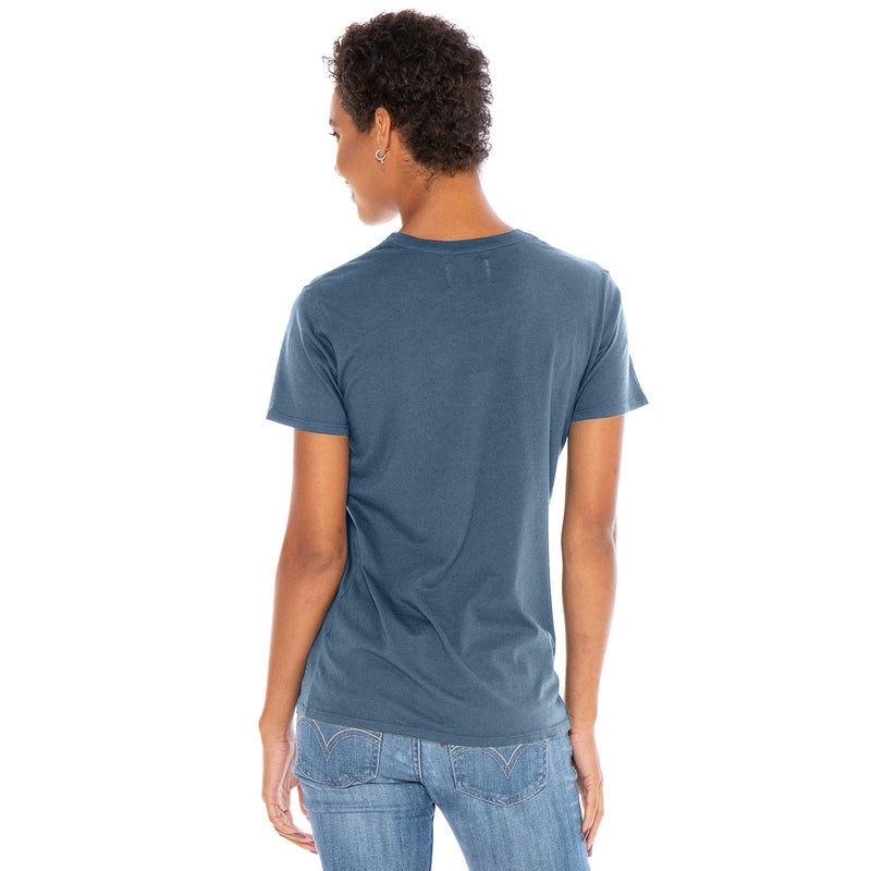 dusk-blue organic cotton V-Neck t-shirt - back view