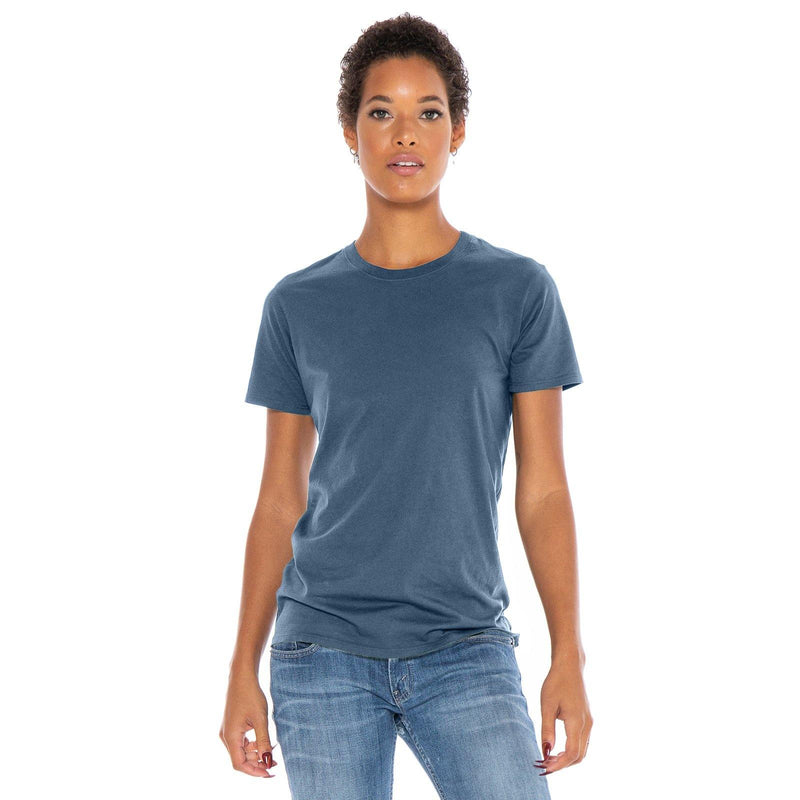 dusk-blue organic cotton t-shirt - front view new-color