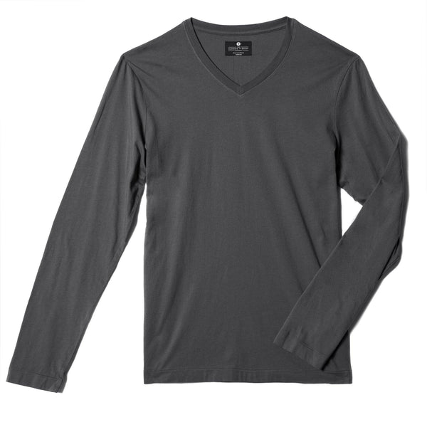 dark-grey organic cotton Long sleeve V-Neck t-shirt - flat