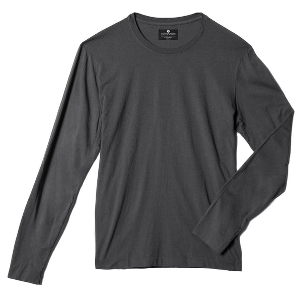 dark-grey organic long sleeve cotton t-shirt - flat