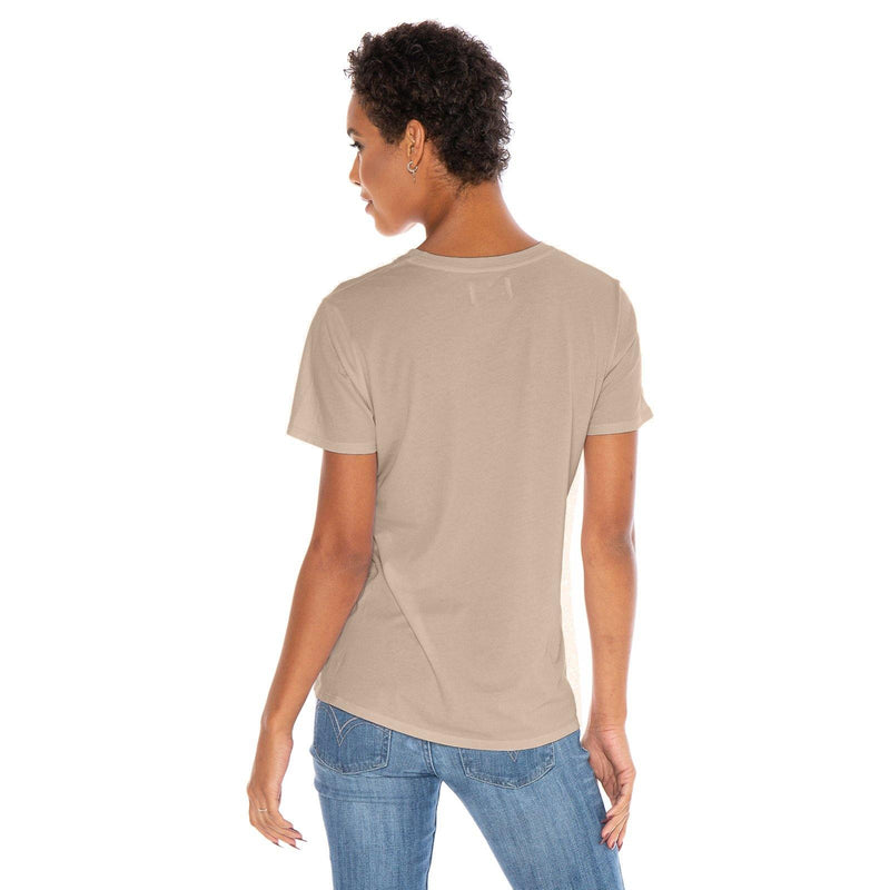 sand organic cotton V-Neck t-shirt - back view